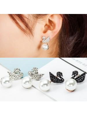 Fashion Swan Hanging Pearl Ear Drop Shining Animal Earring Studs
