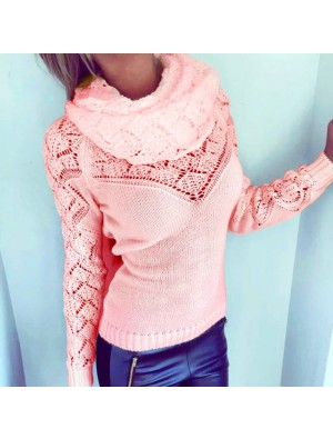 Fashion Women's Hollowd-out Whole Color Heaps Collar Sweater