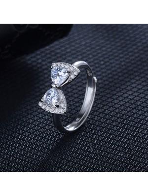 Fashion Bow Ring Temperament Diamond Adjustable Ring