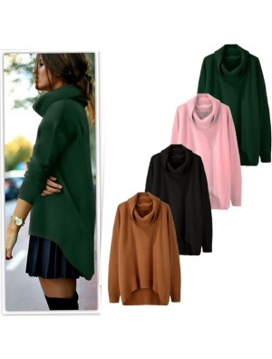 Fashion  High Collar Thermal Irregular Candy Color Rabbit Hair Sweater