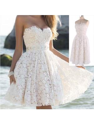 Elegant Women's A Line Flower Lace Prom Strapless Party Short Dresses