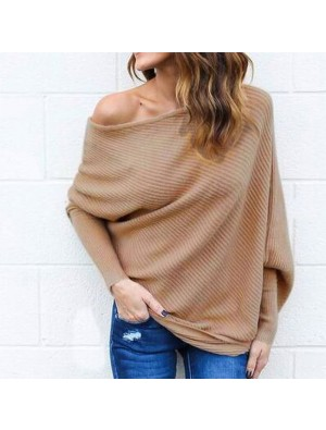 Sexy Off Shoulder Bat Long Sleeve Women's Coat Sweater
