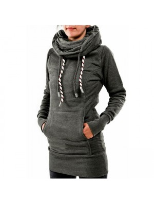 Casual Heaps Collar Hooded Long-sleeve Pocket Back Embroidered Fleece Long Pullover Women's Sweater