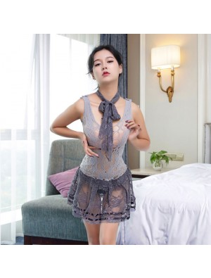 Sexy Gray Fishnet See Through Straps Hollow-out Sleepwear Women's Lingerie