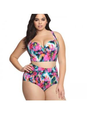 Sexy High Waist Swimsuit Large Size Colorful Lattice Women's Bikini