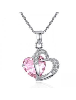 Romantic Love Zircon Heart Crystal Pendant Women's Necklace