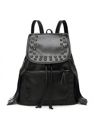 Casual Women Black Rivets Waterproof PU Tassel Leather College Backpack