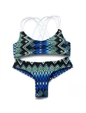 New Sexy Folk Peacock Printing 3 Sling Bikinis Swimsuit