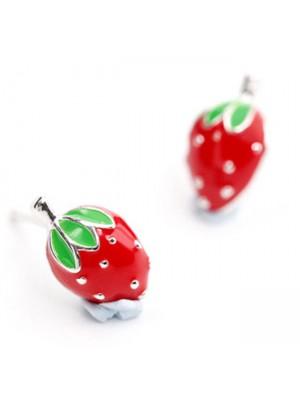 Cute Strawberry Girl 925 Silver Earring Studs