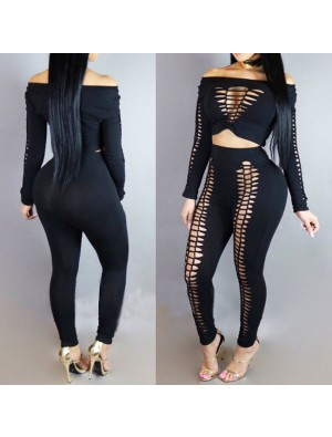 Sexy Women's Front Hollowed-out Large Size Punk Bandage Boat Neck Top Pants Suit