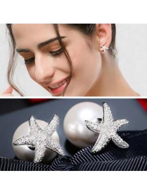 Cute Silver Crystal Diamond-bordered Starfish Amphibious Pearl Women's Earring Studs