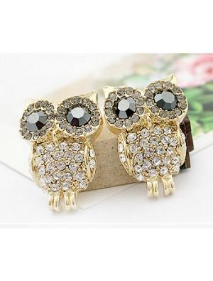 Cute Shining Rhinestone Owl Earring Studs