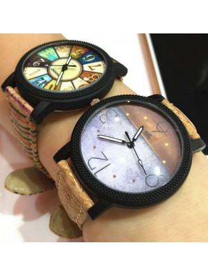 Retro Dusk Compass Fantasy Rome Charm Leather Band Student Casual Wrist Watch