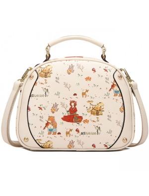 Sweet Black Beige Cute Lady Bag Cartoon Princess Printing Shoulder Bag