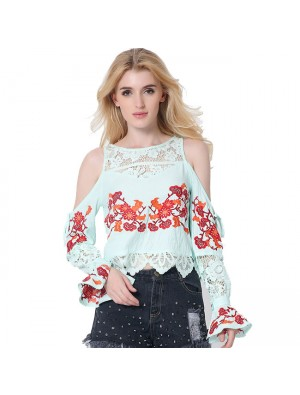 Women's Fashion Tee Lace Splice Loose Shirt Blouse Embroidery Ladies Tops
