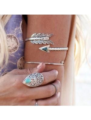 Women Retro Bangle Swirl Spiral Armband Arm Cuff Armlet Upper Stone Arrow Bracelet