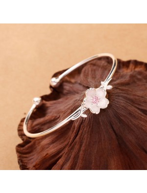 Cute Valentine's Day Present Women Flower Open Bracelet Leaves Cherry Silver Bracelet