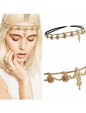 Fashion Stretch Tassel Headband Hair Chain Pearl Flower Hair Accessories