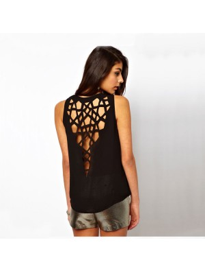 Fashion Geometry  Hollow Out Slim Round Neck T-shirt
