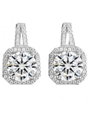 Shining Silver Luxury Diamond-bordered Octagon Women's Earring Studs