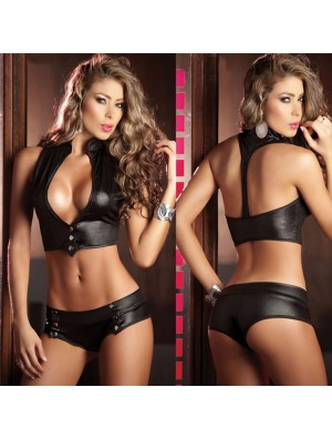 Sexy Lady's V-neck Halter Big Boob Uniform Temptation Backless Sexy Bikini Lingerie