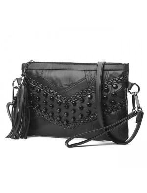 Leisure Weave Ladies Leather Braided Rivets Handbags Messenger Bags Punk Shoulder Bag