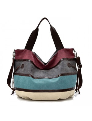 Leisure Colorful Rainbow Large Stripe Canvas Shopping Handbag Shoulder Bag