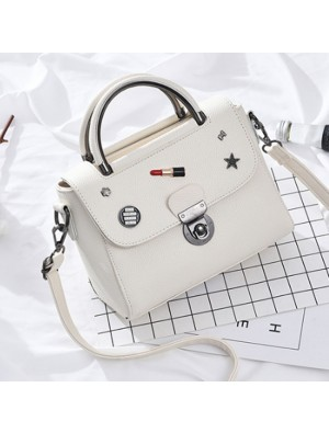 Unique Lipstick Button PU Leather Handbag Multi-function Women Tote Shoulder Bag