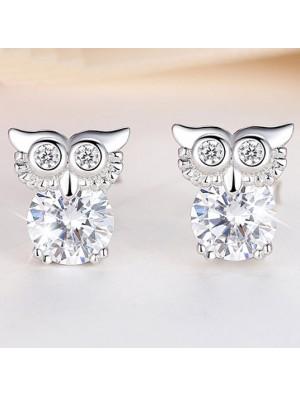 Fashion Cute Owl Women Blinking Crystal Diamond-bordered Silver Animal Earring Studs
