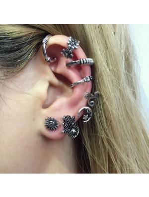 Punk Palms Moon Asymmetric Earrings Creative Bohemian Earrings Clips Stud Set