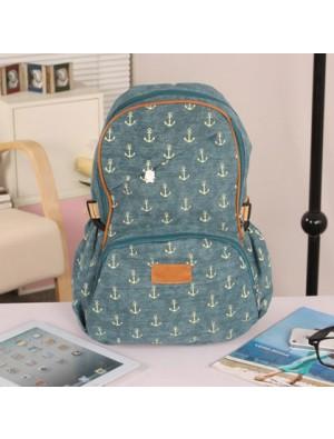 Cute Leisure Anchor Print Canvas Backpack