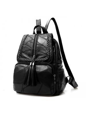 Leisure Black Leather School Bag Large Weave Tassel Women's College Backpack
