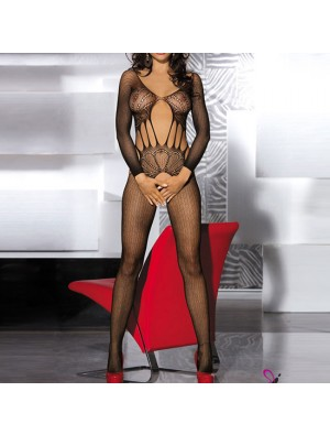 Sexy Hollowed-out Jacquard One-piece Split Briefs Women's Mesh See Through Lingerie