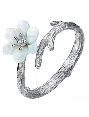 Handmade Silver Pearl Shellfish Cherry Imitating Branch Lines Ring Open Ring