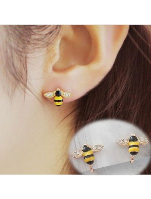 Cartoon Cute Bee Diamond-bordered Wings Gold Plated Women Animal Ear Clip
