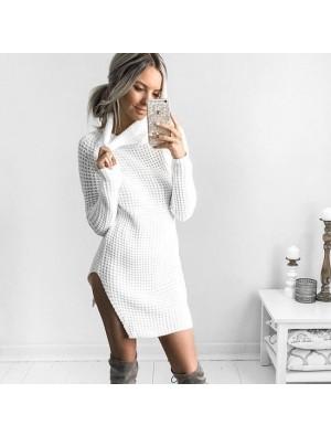 Sexy Long Sleeve Winter Split High Collar Women's Sweater Dress Skirt
