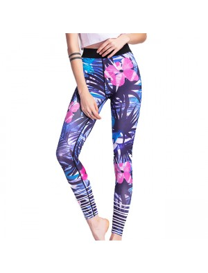 Unique Girl's Tropical Plant Flowers And Leaves Printing Yoga Sports Ninth Skinny Legging