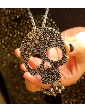 Vintage Skull  Printed Pendant& Sweater Necklace