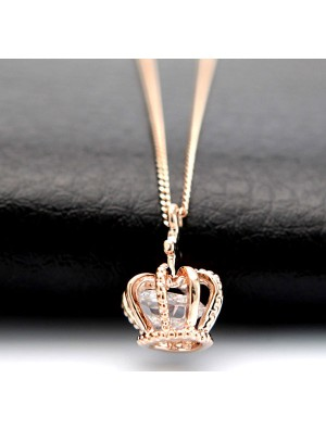 Fashion Shiny Rose Rhinestone Crown Necklace