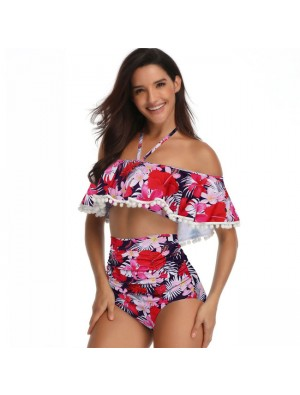 Sexy Flower Sling Summer Swimsuit Leaves Printing Cross Collar High Waist Bikinis