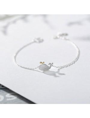 Cute Dolphin Love Token Romantic Girl Friend Gift Women Bracelet Little Whale Silver Bracelet