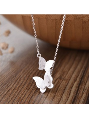 Sweet Double Butterfly Silver Lover Gift Women Necklace