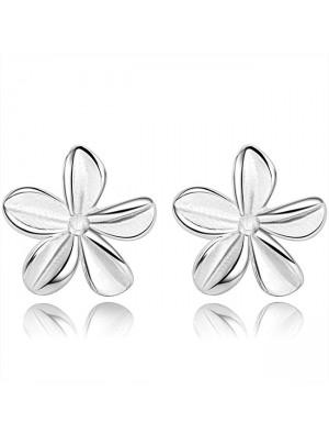 Fresh Pure Flower Silver Women Earrings Studs