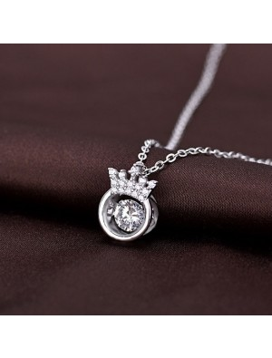 Unique Crown Girlfriend Gift Women's Crown Silver Necklace Diamond Ring Hollow Crystal Silver Necklace