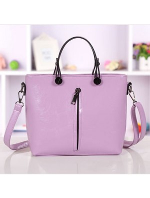 Elegant Purple Fashion Zipper Small Fresh Handbag&Shoulder Bag
