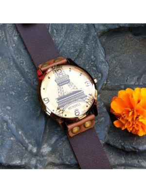 Retro Eiffel Tower Brown Leather Watch