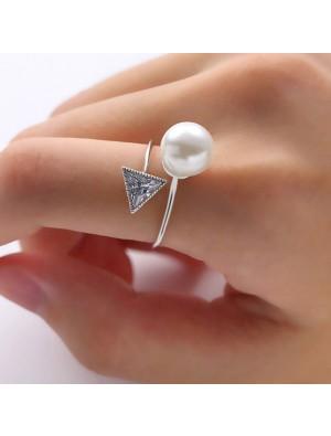 Fashion Plastic Pearl Crystal Triangular Diamond-bordered Open Ring