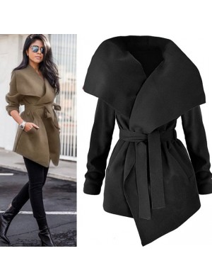 Elegant Women's Large Size Woolen Wide Collar Irregular Long Velvet Coat