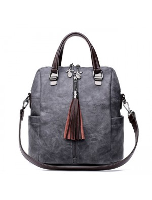 Vintage Leather Multi-function Backpack Tassel Handbag Backpack Women's Shoulder Bag