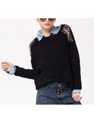 Vintage Style Rivets Loose Bat Sleeve Sweater&Cardigan